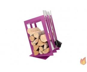Stojak na drewno + przybory kominkowe - symbol SA 002F