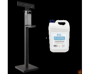 Zestaw Dozownik do Płynu i Żelu do dezynfekcji ze stojakiem wolnostojącym oraz płynem 5L do dezynfekcji