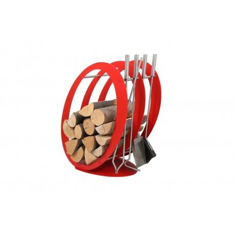 Stojak na drewno + przybory kominkowe - symbol SA 001R