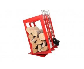 Stojak na drewno + przybory kominkowe - symbol SA 002R